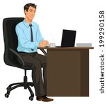 man at the desk with laptop | Shutterstock .eps vector #199290158