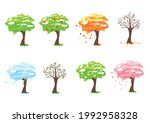 a tree at different times of... | Shutterstock .eps vector #1992958328