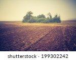 vintage photo of plowed field... | Shutterstock . vector #199302242