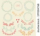 vector romantic set of circle... | Shutterstock .eps vector #199304768