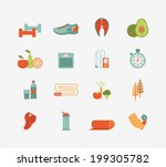 set of flat healthy life icons | Shutterstock . vector #199305782
