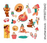 summer girls. vector... | Shutterstock .eps vector #1993073642