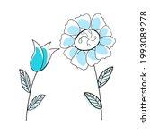 doodle sketch flower with color ...   Shutterstock .eps vector #1993089278
