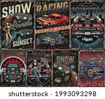 custom cars vintage posters set ...   Shutterstock .eps vector #1993093298