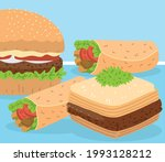 baklava hamburger and shawarma  ... | Shutterstock .eps vector #1993128212