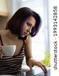 a beautiful young brunette girl ...   Shutterstock . vector #1993142858