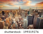 Stock photo sunset aerial view of new york city looking over midtown manhattan towards downtown 199319276