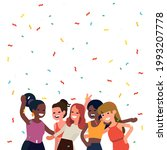 happy cheerful young women... | Shutterstock .eps vector #1993207778