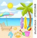 tropical beach | Shutterstock .eps vector #199321868