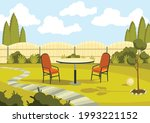 patio area with cartoon table...   Shutterstock .eps vector #1993221152