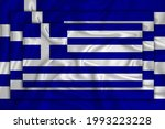 Greece flag on background texture. Three flags are superimposed on each other. The concept of design solutions. 3D-rendering