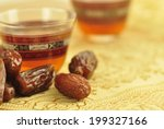 black coffee with dates   a... | Shutterstock . vector #199327166