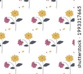 floral pattern . yellow   gray  ... | Shutterstock .eps vector #1993317665