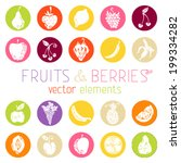 set of vector round icons with... | Shutterstock .eps vector #199334282