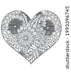 heart with floral pattern.... | Shutterstock .eps vector #1993396745
