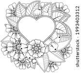 mehndi flower for henna  mehndi ... | Shutterstock .eps vector #1993403312