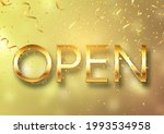 gold open sign with confetti... | Shutterstock .eps vector #1993534958