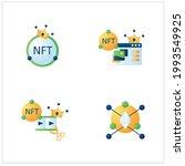 nft flat icons set. ethereum...