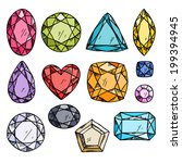 set of colorful jewels. hand... | Shutterstock .eps vector #199394945