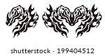 tribal flaming dragon head | Shutterstock .eps vector #199404512