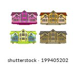 set of four houses with color... | Shutterstock .eps vector #199405202