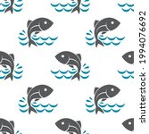 seamless pattern with fish and... | Shutterstock .eps vector #1994076692