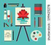 colored flat design vector... | Shutterstock .eps vector #199425278