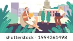 relaxed characters sit in... | Shutterstock .eps vector #1994261498