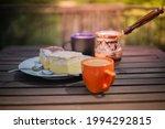 rustic breakfast. wooden coffee ... | Shutterstock . vector #1994292815