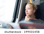 thoughtful young lady reading... | Shutterstock . vector #199431458