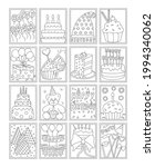 pack of happy birthday coloring ... | Shutterstock .eps vector #1994340062