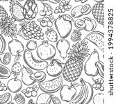 fruits and berries outline... | Shutterstock .eps vector #1994378825