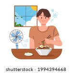 a man is eating naengmyeon in a ...   Shutterstock .eps vector #1994394668