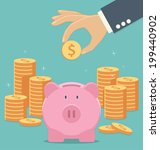 piggy bank and hand with coin... | Shutterstock .eps vector #199440902