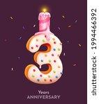 birthday cake font number 3... | Shutterstock .eps vector #1994466392