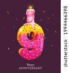 birthday cake font number 9...   Shutterstock .eps vector #1994466398