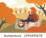 autumn. woman reads book and...   Shutterstock .eps vector #1994495678