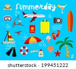 flat icons set of traveling on... | Shutterstock .eps vector #199451222