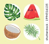tropical leafs and flowers icons | Shutterstock .eps vector #1994516135