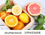fresh citrus fruits with green... | Shutterstock . vector #199455698
