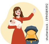 beautiful housewife is feeding... | Shutterstock .eps vector #1994589392