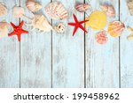 few summer items on wooden... | Shutterstock . vector #199458962