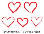 grunge hand painted heart icons | Shutterstock .eps vector #1994617085