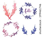 hand painted watercolor laurel... | Shutterstock .eps vector #199461746