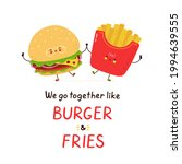 Cute Happy Smiling Burger And...