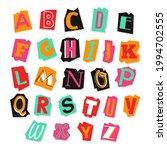 newspaper alphabet. ransom note.... | Shutterstock .eps vector #1994702555