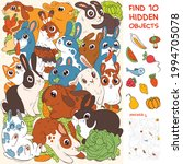 group of rabbits. find cat.... | Shutterstock .eps vector #1994705078