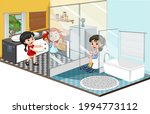 familly in different rooms... | Shutterstock .eps vector #1994773112