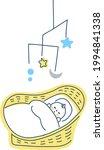 baby sleeping in a baby basket   Shutterstock .eps vector #1994841338