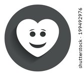 smile heart face sign icon....